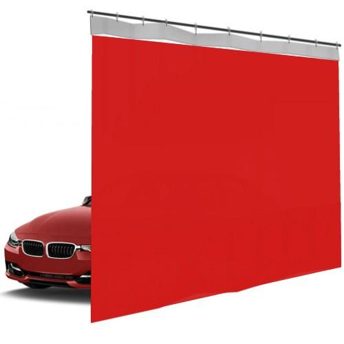 Шторы ПВХ для автомойки сплошные, цвет красный 1м³