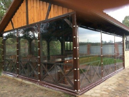 Прозрачные ПВХ шторы для ресторана